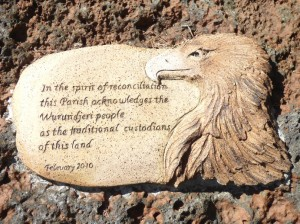 The plaque acknowledges the traditional owners of the land on which the church is built, showing an eagle which is the symbol of the Wurundjeri people.